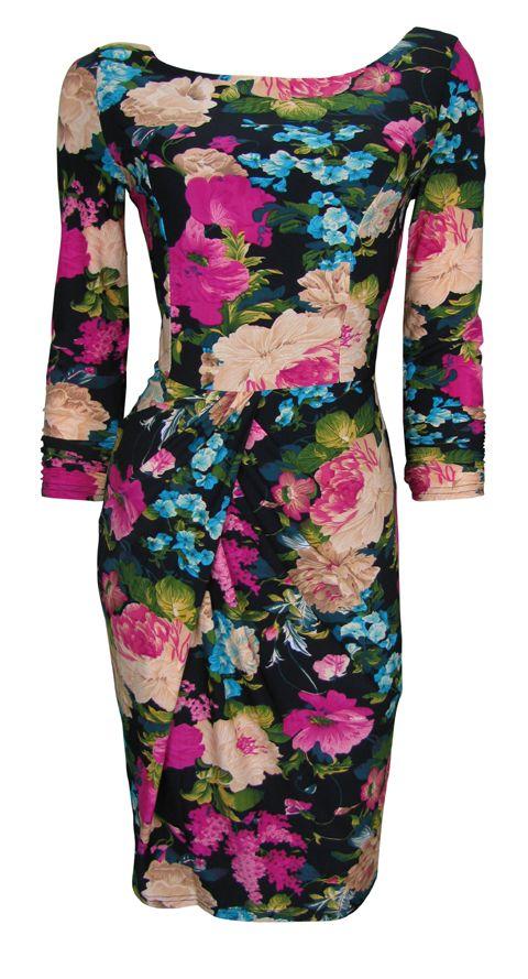 #Black #Floral Chintz #Print Stretch Day #Dress 'Julia' Size $44