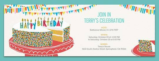Birthday Cake Sprinkles Invitation clem Pinterest – Free Kids Birthday Invites