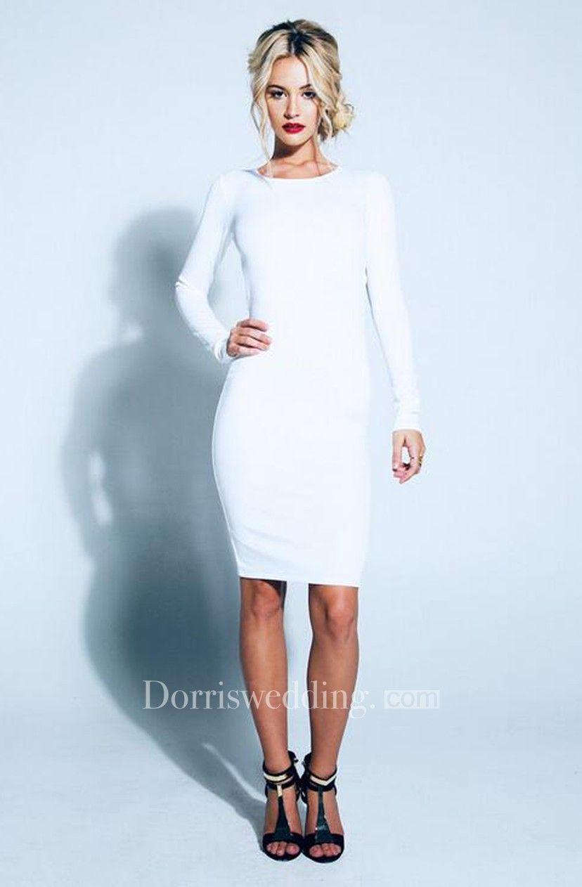 Elegant Backless Bowknot White Homecoming Dress Long Sleeve Short Prom Gown - Dorris Wedding #shortbacklessdress