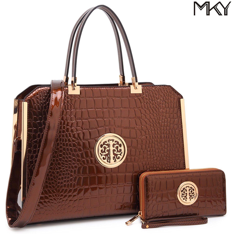 Large Satchel Handbag Designer Purse Multicolor 2 Pieces With Wallet Shoulder Bag