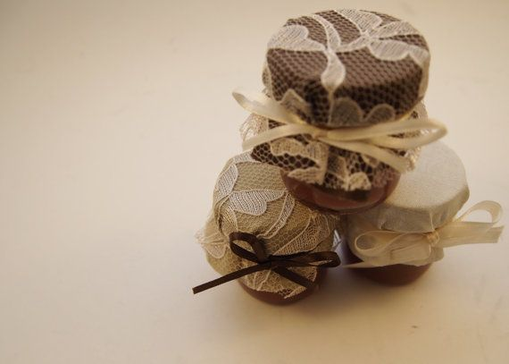 100 Honey Jars in Burlap and Lace Design  by CustomLoveGifts, $110.00