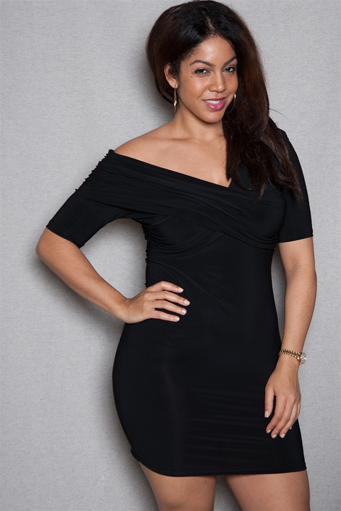 46cff3ae014 Cross Over Off-Shoulder Plus-Size Bodycon Mini Dress - Black from ToTo  Collection