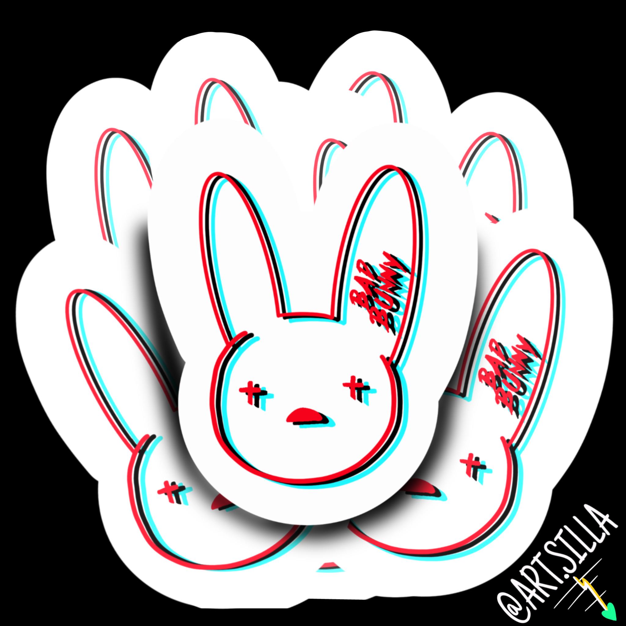 3d Bad Bunny Logo Sticker Etsy Bunny Logo Logo Sticker Bunny Art