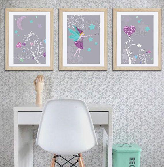3 affiches de décoration fée pour chambre de fille par alexiableu