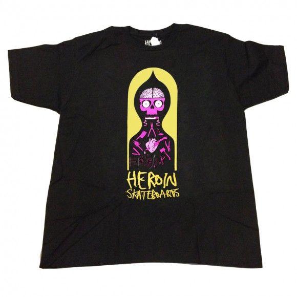 Heroin Pendleton black T shirt - T Shirts - Clothing | Manchester's Premier Skateboard Shop | NOTE Skate Shop Manchester
