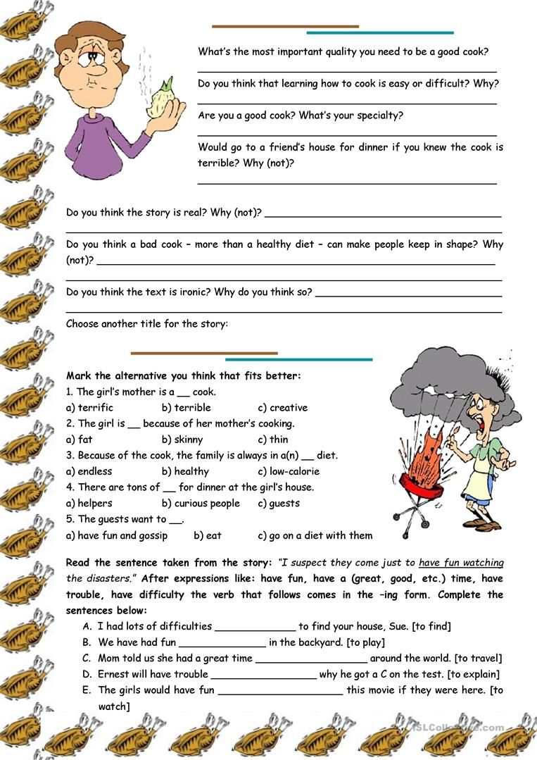 A Terrific Cook Reading Comprehension Grammar Ing After Expressions With To Have Reading Comprehension Reading Comprehension Activities Comprehension [ 1079 x 763 Pixel ]