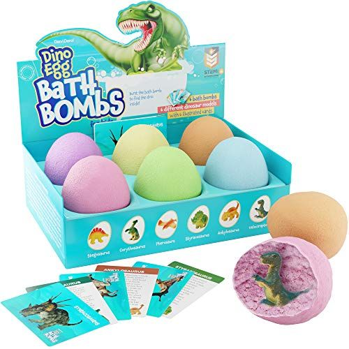 🛁 TURN Bathtime Right Into A Educational And Fun EXPERIENCE: Drop the egg-formed bath bombs in to the tub watching it burst with color and scent while releasing a distinctive dinosaur model in to the water. 🦖 CONVERT YOUR TUB Right Into A FIZZY DINO WORLD: Includes 6 distinctively-colored egg-formed bath fizzies each having a different dinosaur hidden inside, and 6 beautiful cards, each describing a brief history of the different dinosaur. After reveal #historyofdinosaurs