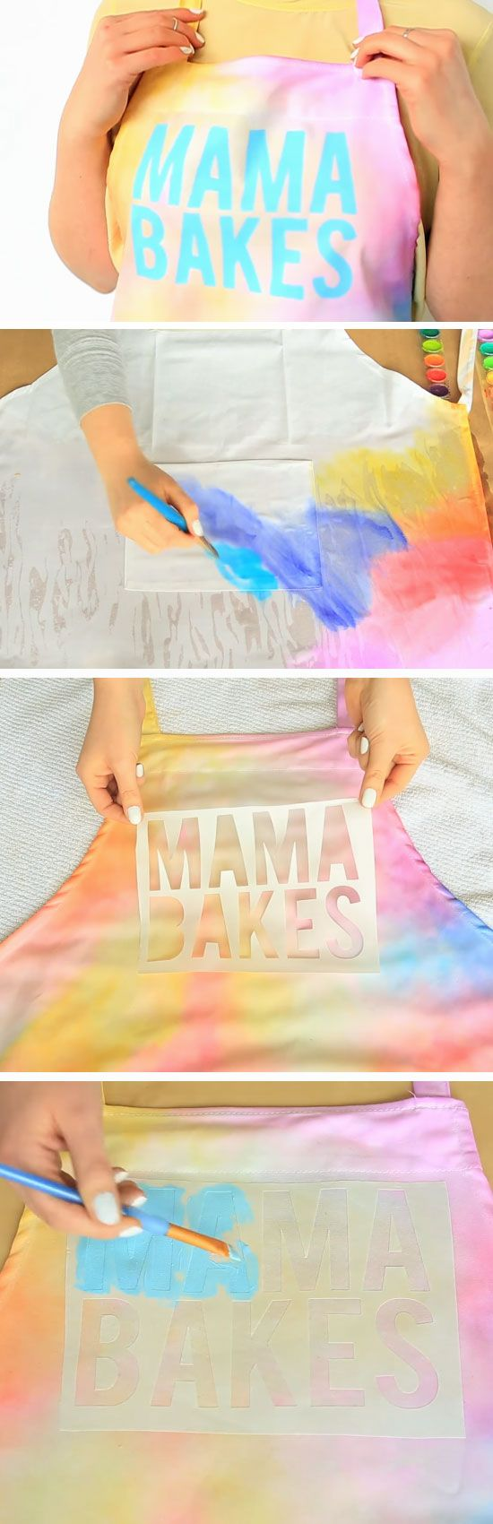 Water Color Apron DIY Mothers Day Gift Ideas from