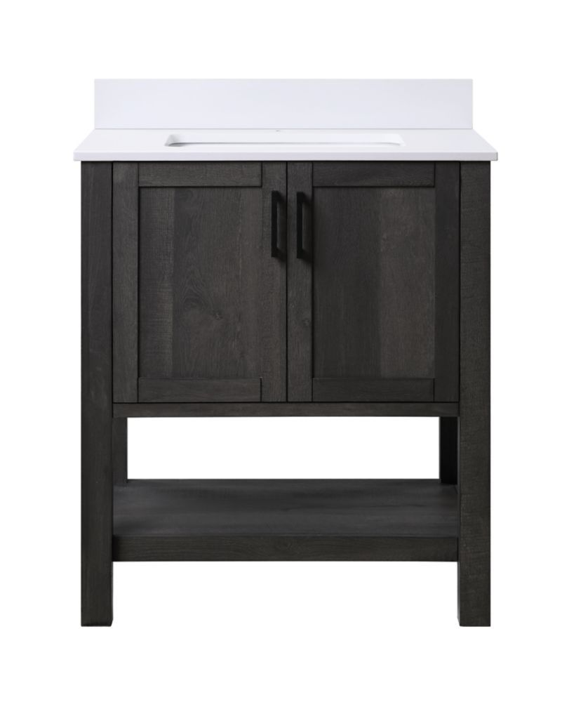Grafton 30 Inch 2 Door Bathroom Vanity In Weathered Dark Brown Finish With Engineered Stone Top In Bright White In 2020 Brown Finish Engineered Stone Home Decor