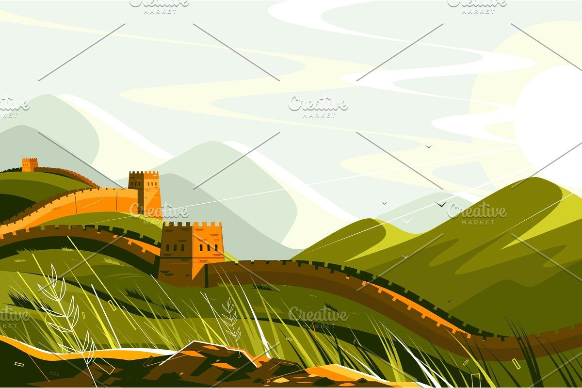 Great Wall Of China Great Wall Of China Tourism Design Graphic