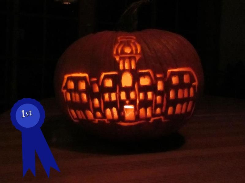 This creative carving of Woodburn Hall by Jackie Stolzenberg won first place in WVU Extension Service's 2012 Pumpkin Decorating Contest.