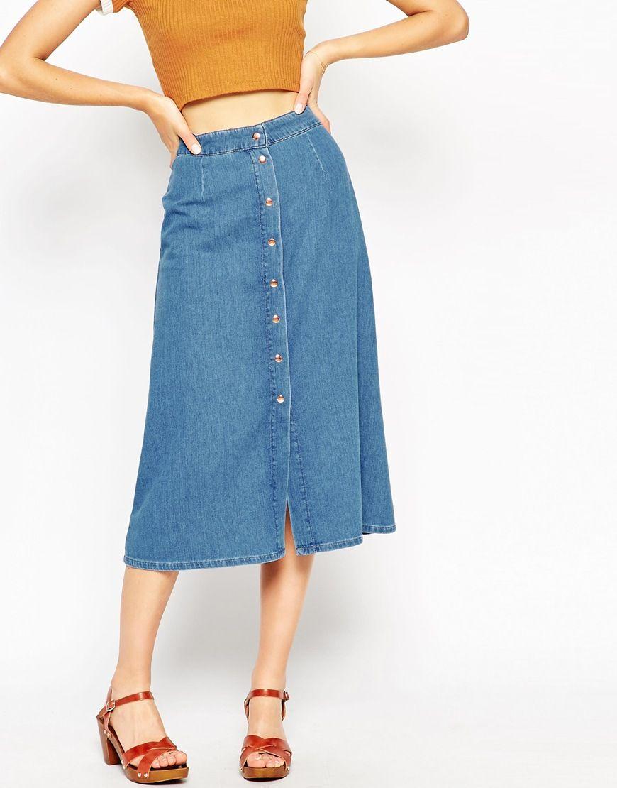 d3ec3ef2747d62 ASOS - Jupe mi-longue style western en jean avec boutons sur le ...