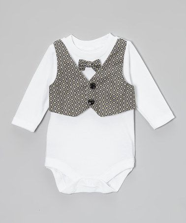 Take a look at this Gray & Yellow Squares Vest & Bow Tie Bodysuit - Infant by Caught Ya Lookin' on #zulily today!