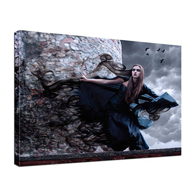 leinwand bild edel gothic fantasy gothic girl farbe color