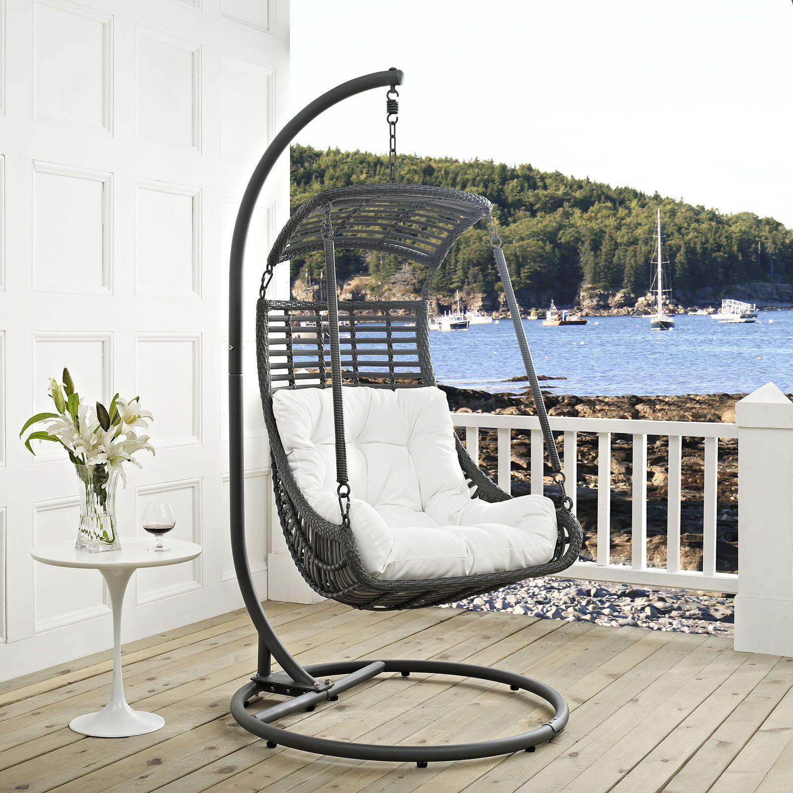 jungle pe rattan white fabric steel frame outdoor patio swing chair