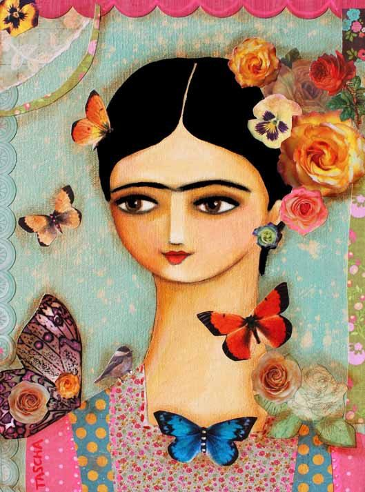 Frida Kahlo PRINT With Butterflies And Roses MIXED MEDIA Painting Folk Art Print 10x8 Poster By Tascha