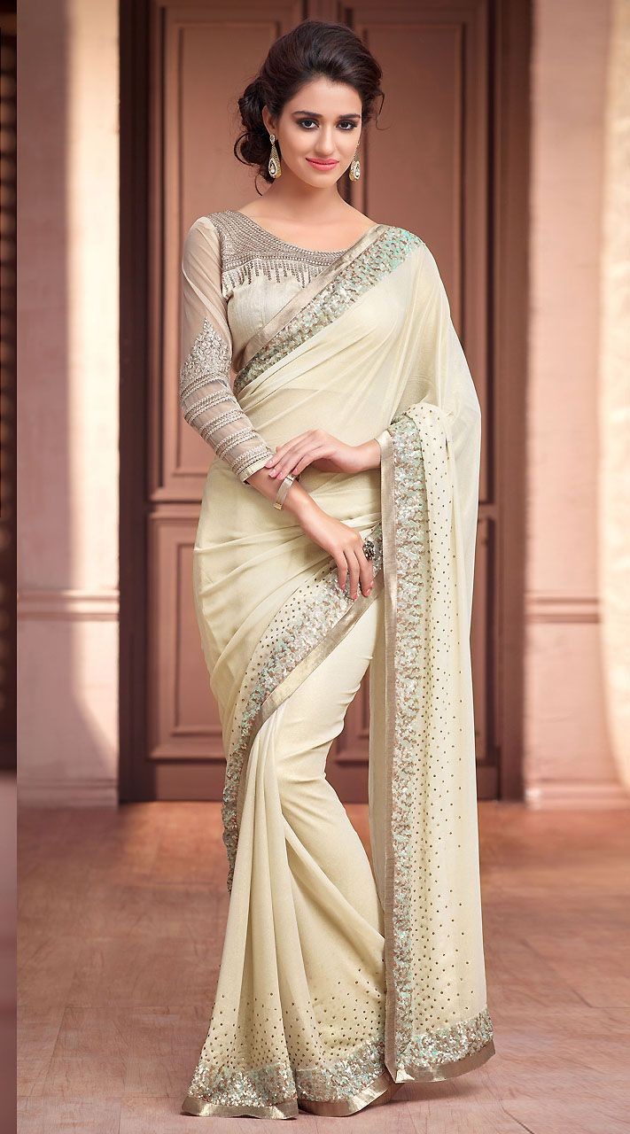 Trendy Off White Shimmer Georgette Kitty Party Saree With Sequins Work