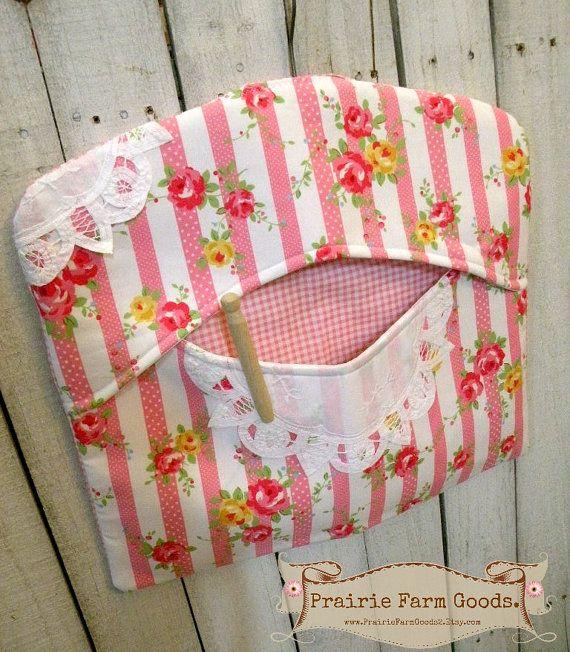 Clothes pin bag Shabby Flour Sugar stripes by PrairieFarmGoods2