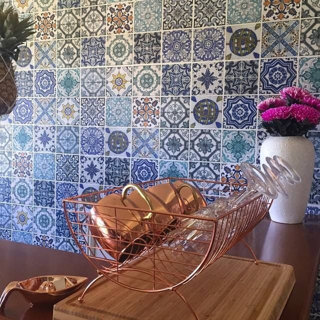 Moroccan Wallpaper Tiles Anthrofave Anthropologie Copper Moscow Mules Kmart Dish Rack Hanging Pineapple Home Decor