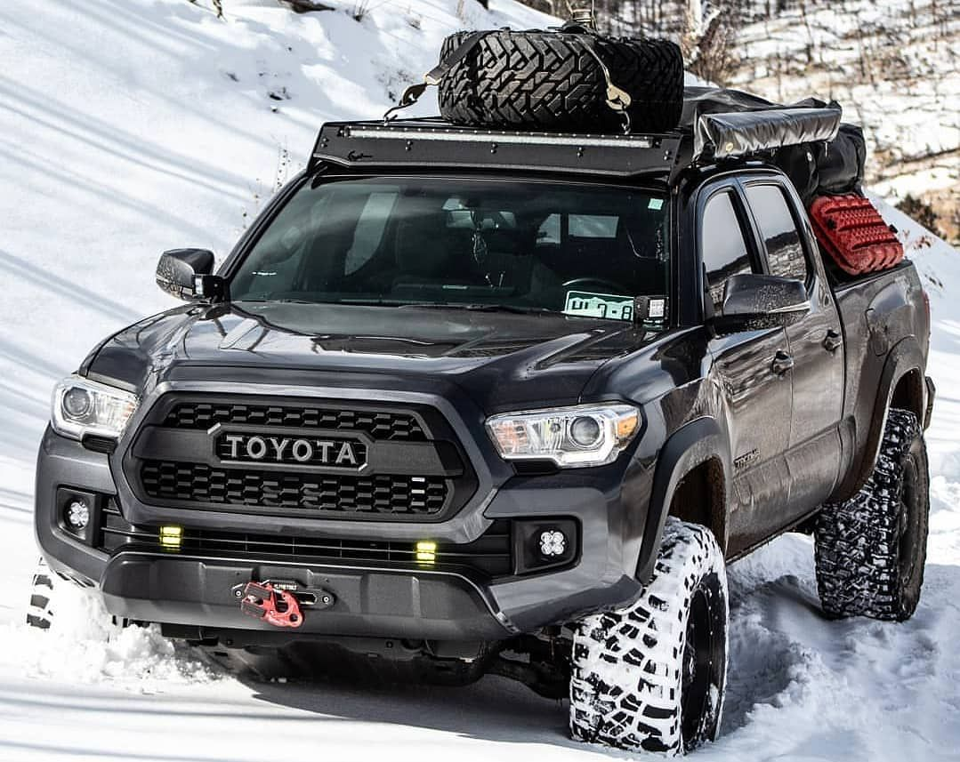 Lifted Toyota Tacoma With Roof Rack Bed Rack Toyota Tacoma Trd Tacoma Truck Toyota Suv