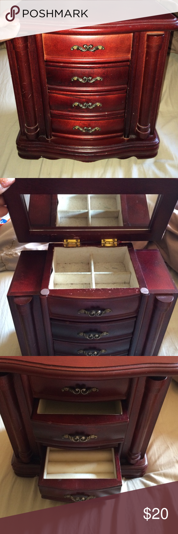 Jewelry Boxes At Kohl's Cherry Wood Jewelry Box Has A Mirror On Inside Top With 4 Separate