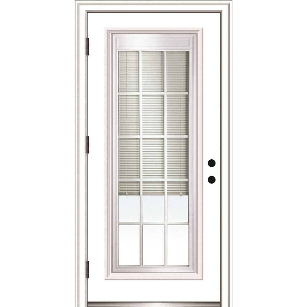 Mmi Door 32 In X 80 In Internal Blinds And Grilles Right Hand Outswing Full Lite Clear Primed Steel Prehung Front Door Z0364952r The Home Depot Front Entry Doors Mmi Door House Design