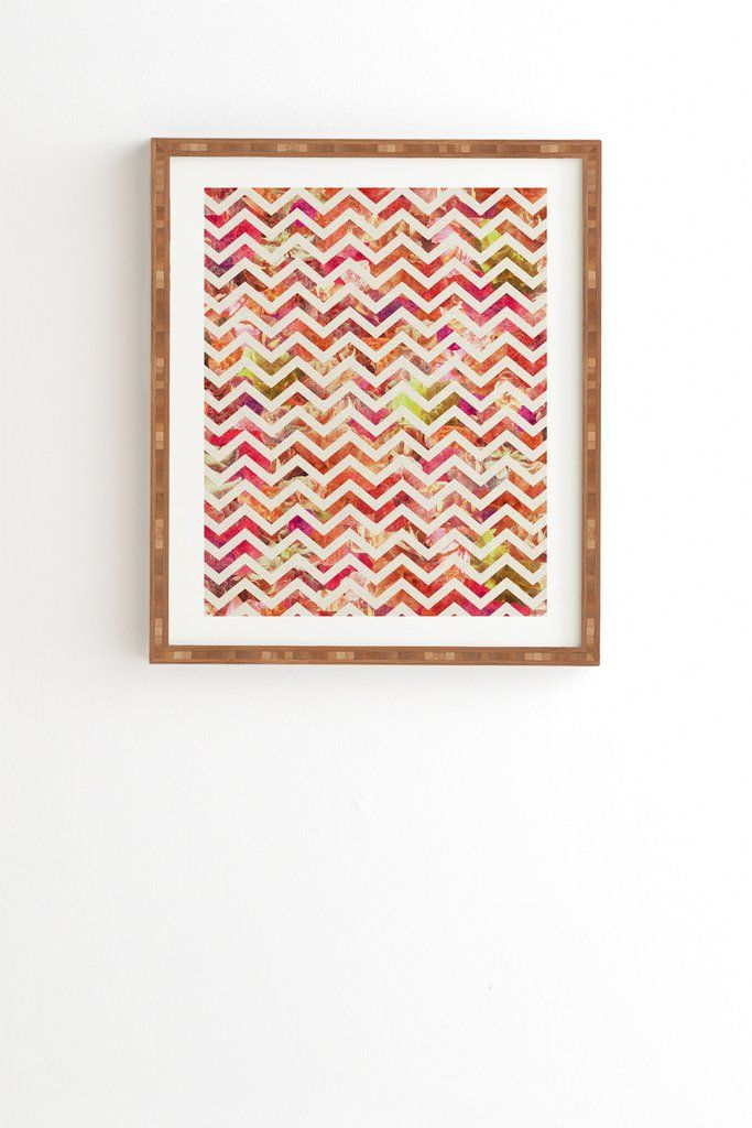 Bianca Green Floral Chevron Pink Framed Wall Art Floral, Walls and