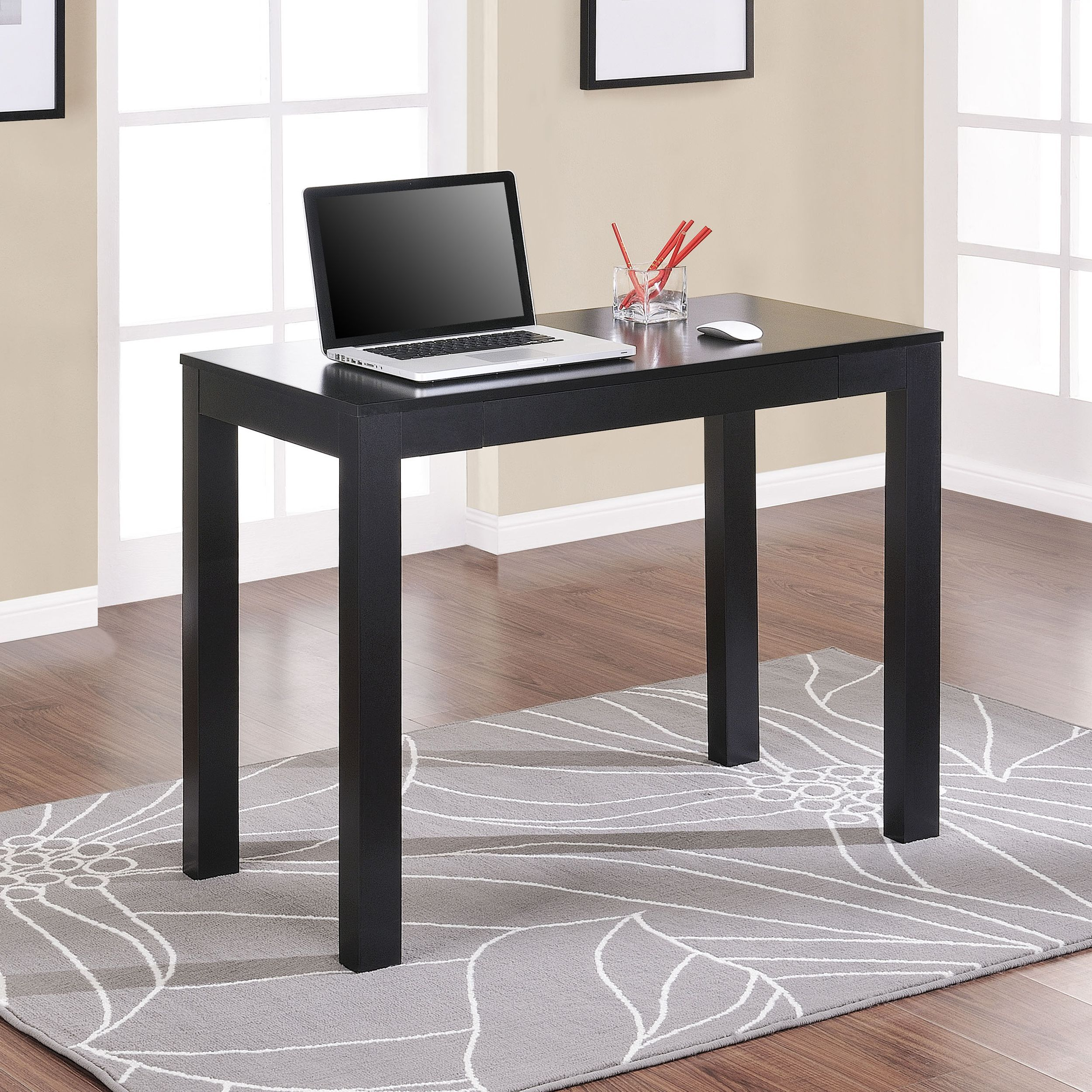 work from home in comfort with this space saving black writing desk rh pinterest com