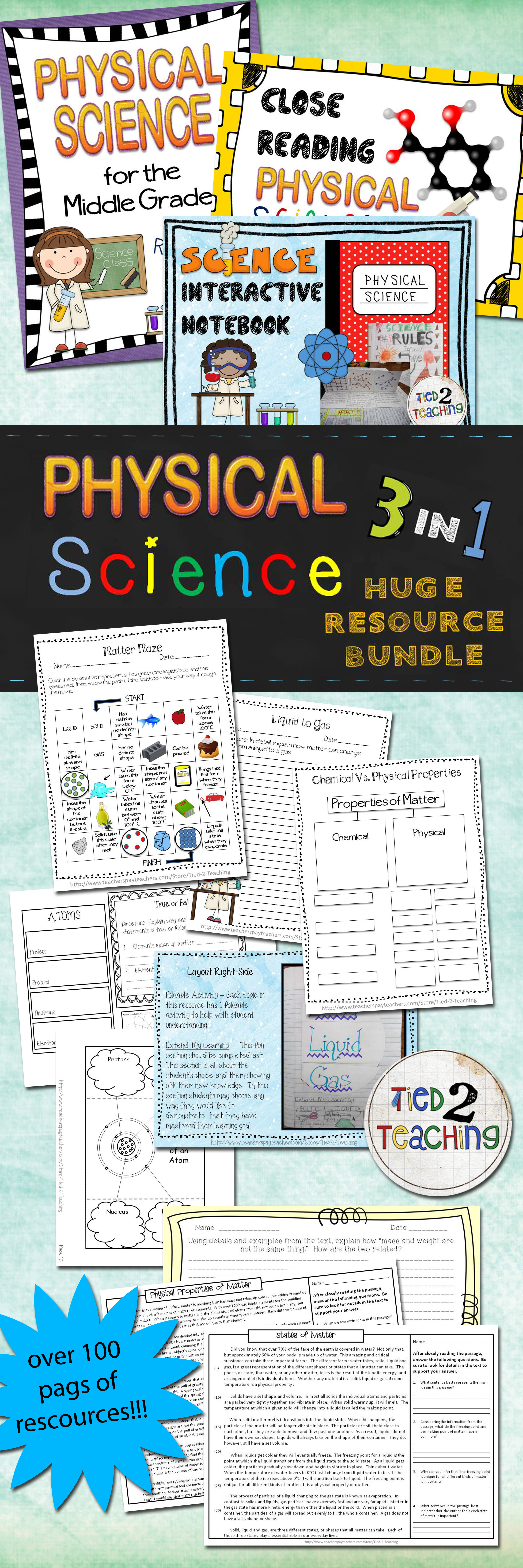 Physical Science 4 In 1 Huge Resource Bundle Middle Grades No Prep Homeschool