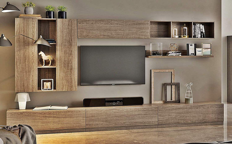 Paroi Equipee De Salon Wall 010 Amazon Fr Cuisine Maison Meuble Rangement Salon Meuble Tv Design Laque Paroi