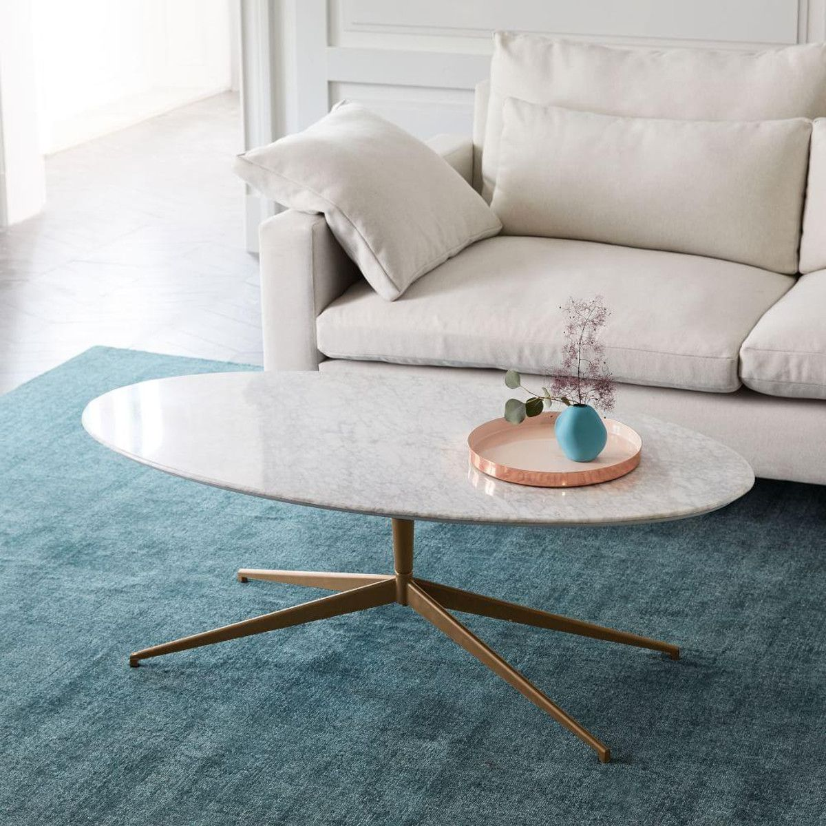 Marble Top Coffee Table Canada: Mid-Century Oval Pedestal Coffee Table