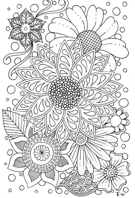 Flower Doodles» de Tabitha Barnett | Coloring Drawings / Dibujos ...