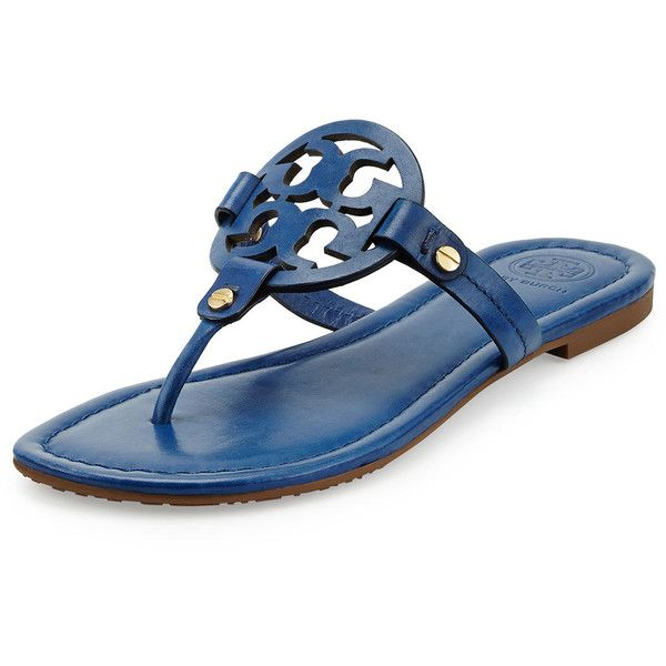 d0bd4fbf77a476 Tory Burch Miller Leather Logo Thong Sandal ( 195) ❤ liked on Polyvore  featuring shoes