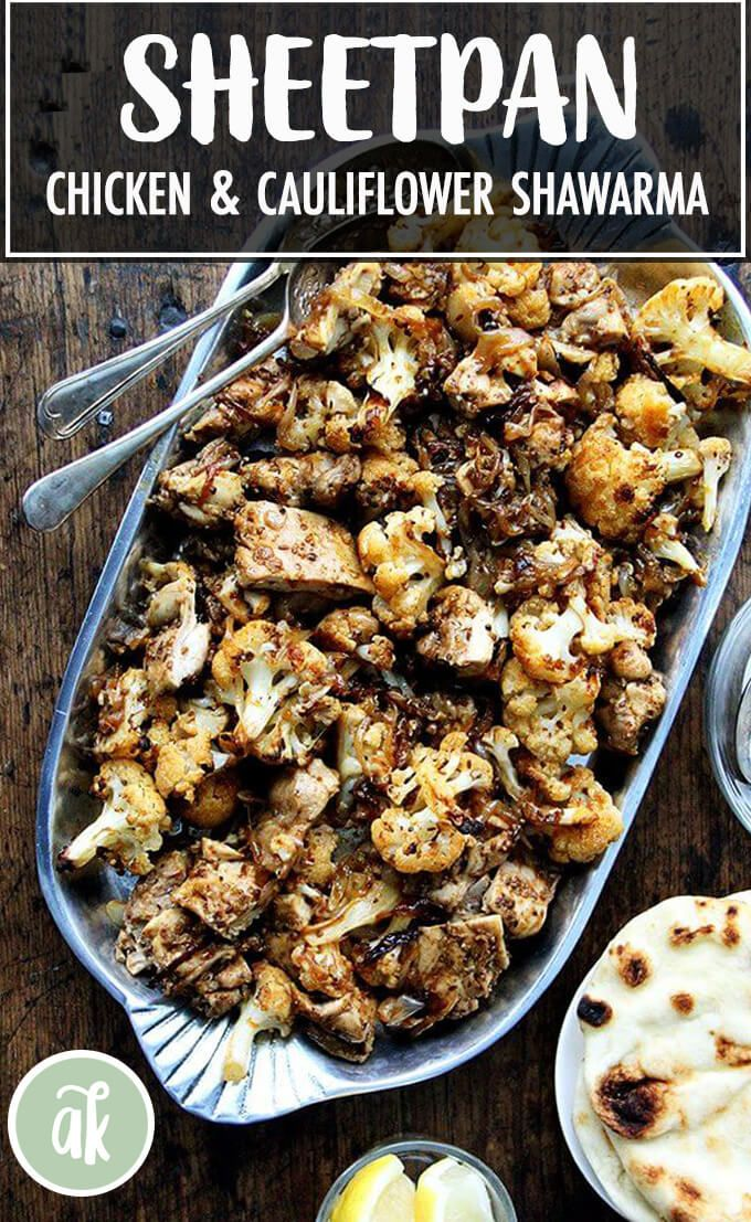 Sheet pan chicken and cauliflower shawarma  a favorite So fast and good this sheet pan supper seasoned with cumin coriander and smoked paprika has become a weeknight stap...