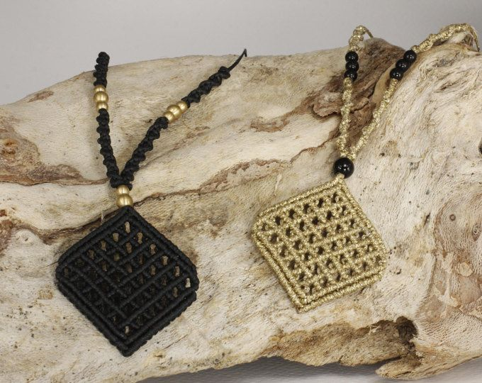 Macrame net pendant - diamond shaped, boho, gipsy style!!