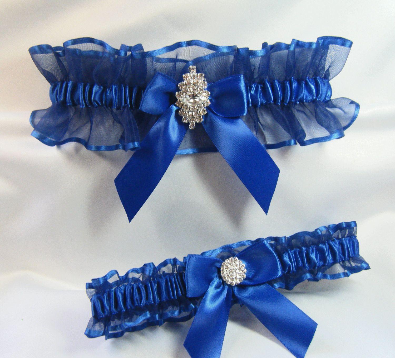 Unique Wedding Garter: RHINESTONE Wedding Garters Royal Blue Garter By