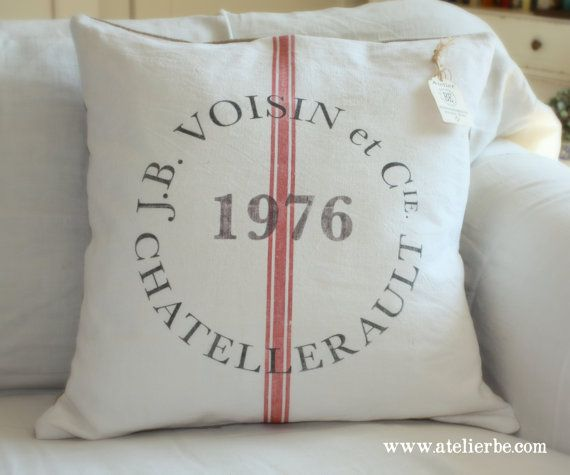 French Country Vintage Linen Grain Sack Pillow