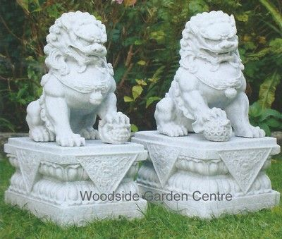 Large Marble Resin Temple Foo Dogs Home Or Garden Ornament   Woodside Garden  Centre   Pots