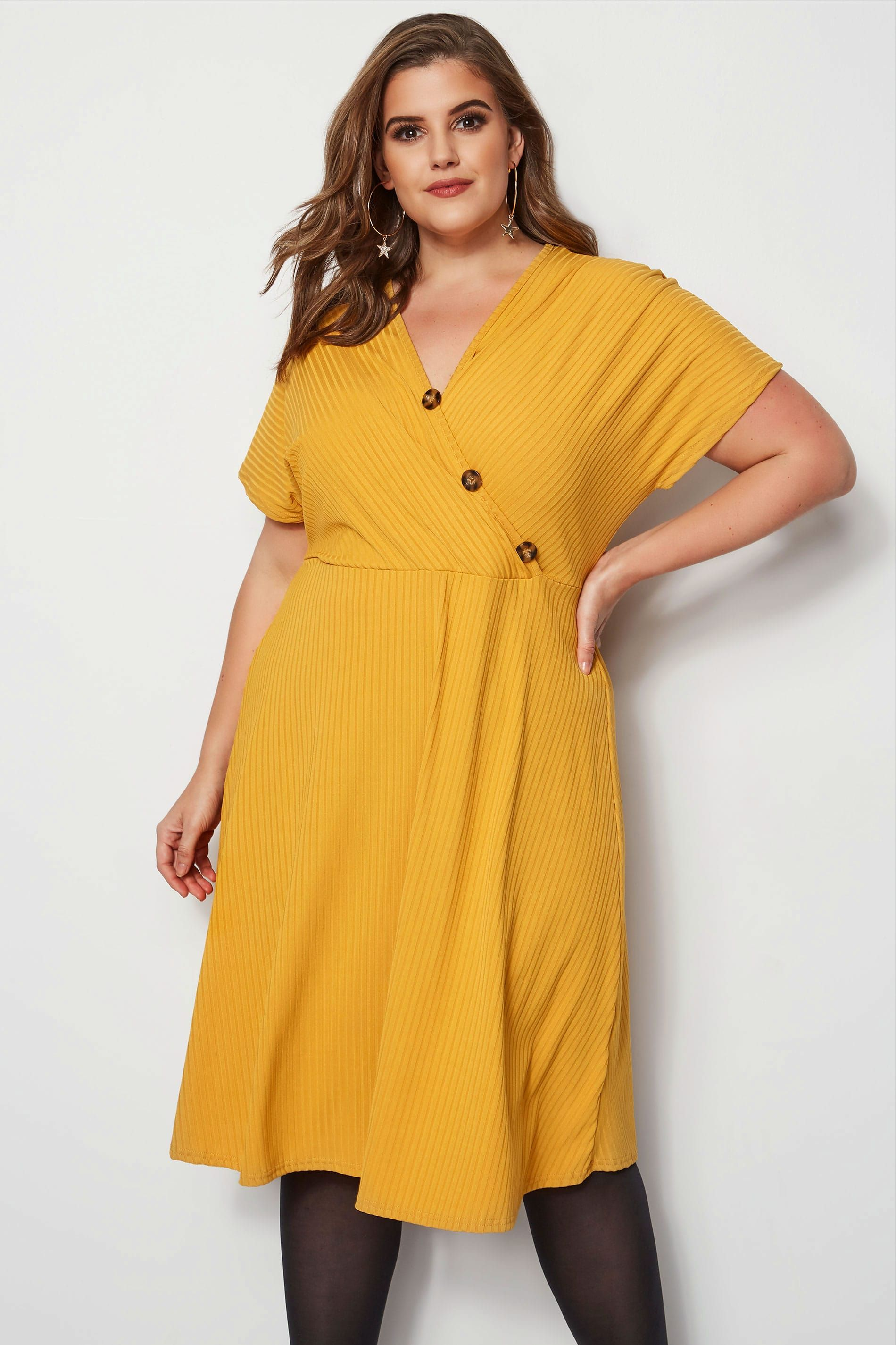 0f865a88255e Mustard Ribbed Wrap Front Dress in 2019 | BODY WRAPS | Wrap front ...