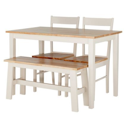 Chicago Two Tone Dining Table Bench And 2 Chairs At Homebase Be