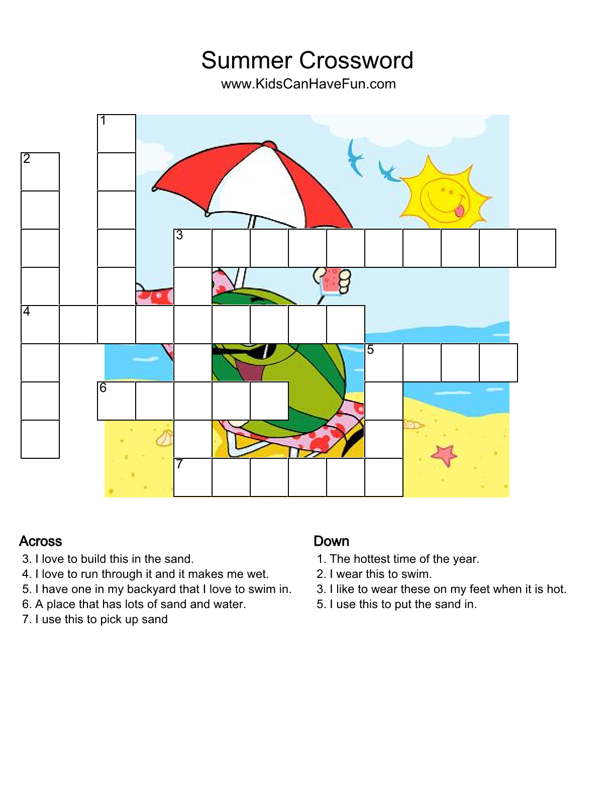 Summer Crossword Puzzle Kidscanhavefun Crosswordshtm