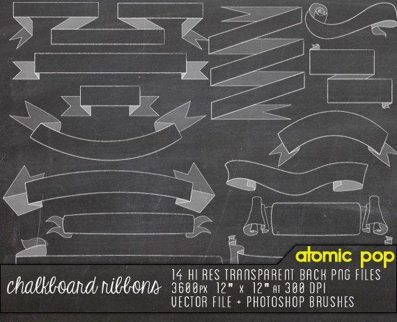 Instant Download // 14 Chalkboard Ribbon Banners Clipart// Digital ...
