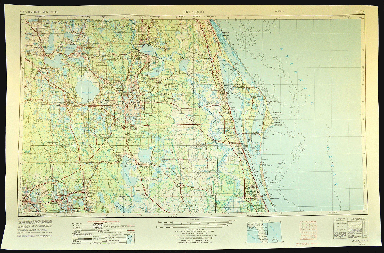 Vintage Orlando Map Of Orlando Florida Wall Art Large Etsy Orlando Map Map Of Florida Florida Art [ 1909 x 2900 Pixel ]