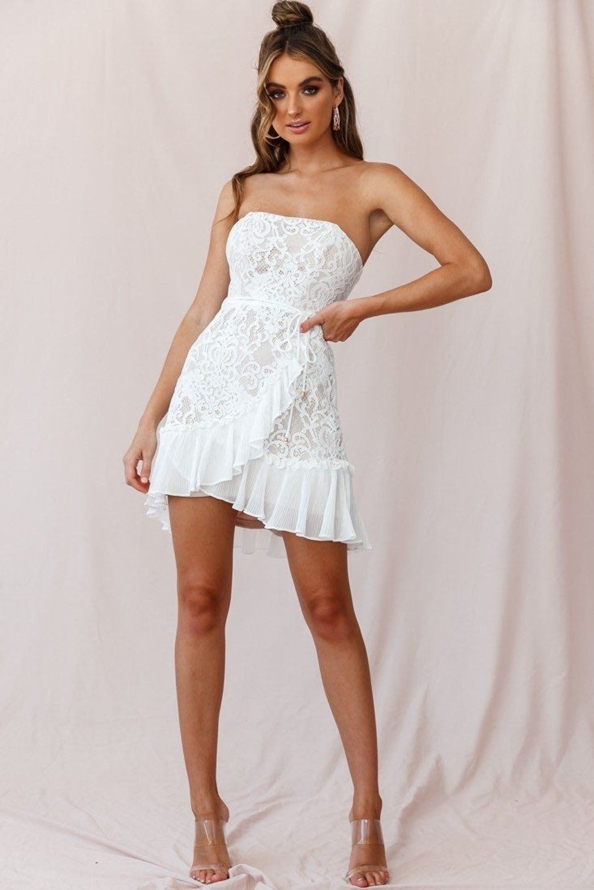 White Lace Strapless Dress In 2021 Strapless White Lace Dress White Short Dress Little White Dresses [ 1798 x 1200 Pixel ]