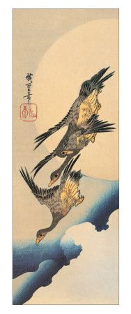 3 Wild Geese Flying  a Reproduction Woodblock Print by Hiroshige