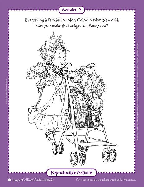 Fancy Nancy And The Posh Puppy Printable Coloring Sheet Fancy Nancy Printable Activities Colorier Disney Filleul