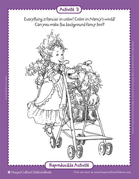 Fancy Nancy And The Posh Puppy Printable Coloring Sheet Fancy Nancy Printable Activities Colorier Disney S Amuser