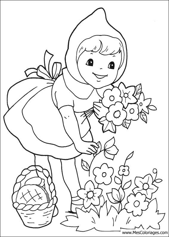 Coloriage Petit Chaperon Rouge Little Red Rinding Hood Embrodery