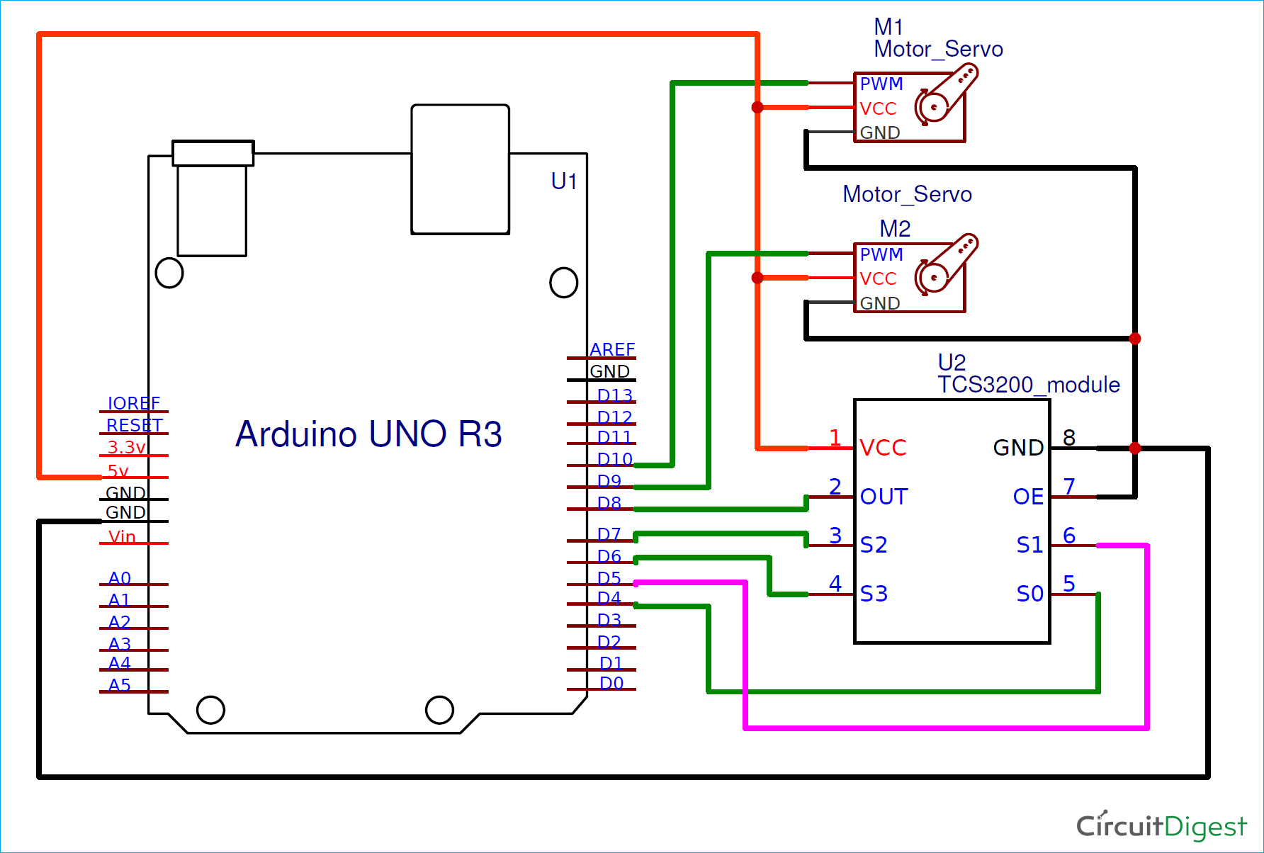 Circuit Diagram For Diy Arduino Based Color Sorter Machine