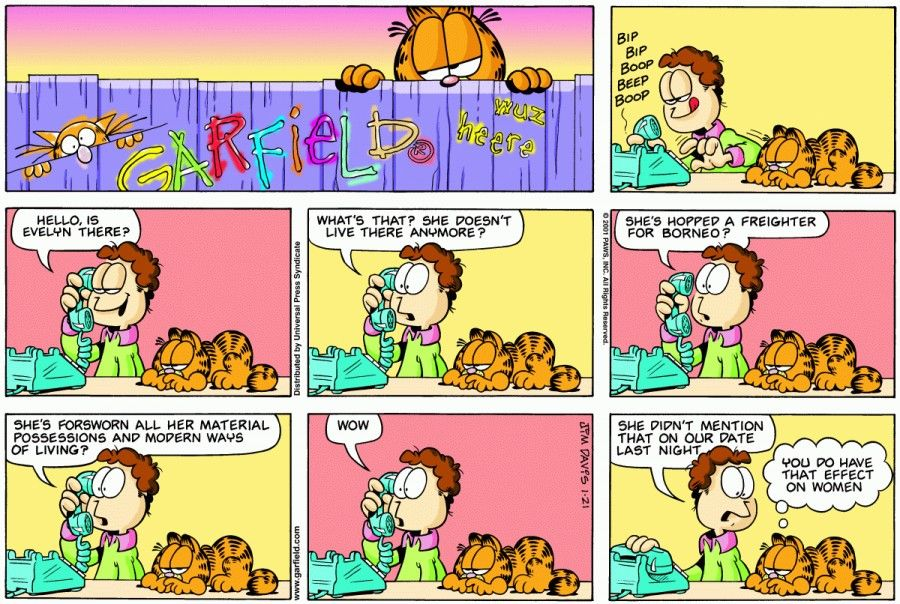 Nice Yet Another Dating Catastrophe For Jon.   The Garfield Daily Comic Strip  For January 21st, 2001